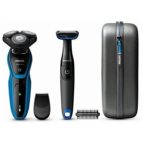 chollos oferta descuentos barato Philips AquaTouch Afeitadora Máquina de afeitar de rotación SH50 2 año s Negro Azul LED Batería
