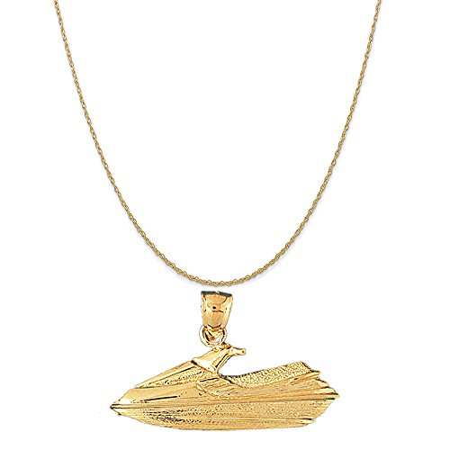 14k Yellow Gold Jet Ski Pendant on a 14K Yellow Gold Rope Chain Necklace, - Jet Gold Ski 14k
