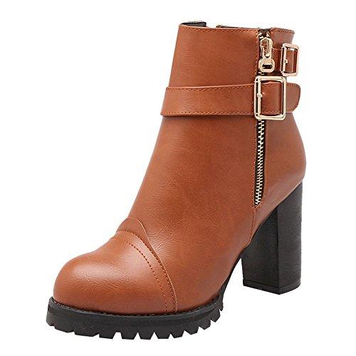 Charm Foot Womens Western Chunky Con Cerniera Tacco Alto Stivaletti Giallo Scuro