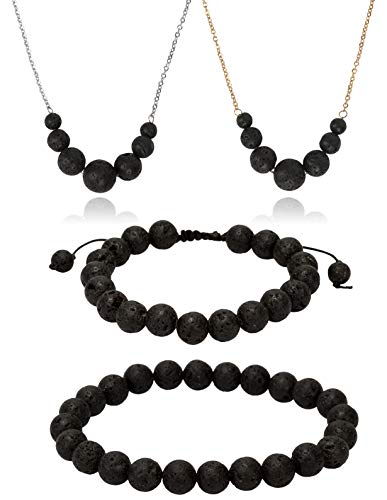 - SPUNKYsoul Essential Oil Diffuser Set of 4-2 Lava Rock Necklaces in Gold and Silver and 2 Lava Bracelets Stretch and Slider for Aromatherapy Women (4 Pack)