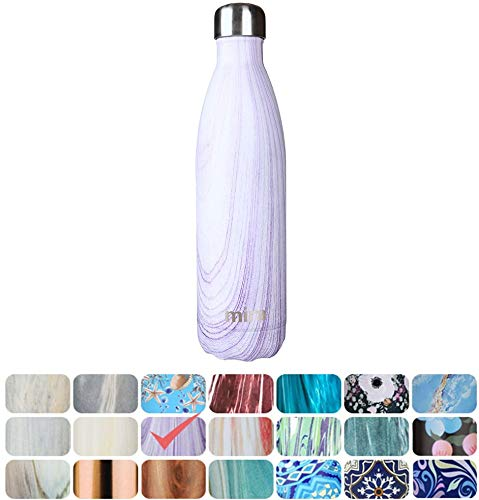 MIRA Vacuum Insulated Travel Water Bottle | Leak-Proof Double Walled Stainless Steel Cola Shape Sports Water Bottle | No Sweating, Keeps Your Drink Hot & Cold | 25 Oz (750 ml) | Purple Granite by MIRA Brands