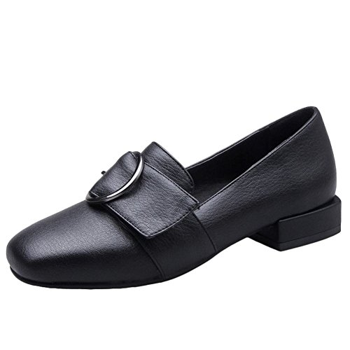 Carolbar Women's Concise Square Toe Low Heel Buckle Loafer Casual Shoes Black A5jpwlrIxx