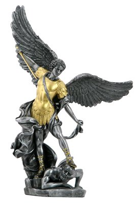 NEW! Gold Pewter Saint Michael Statue Archangel Patron of Police Soldiers