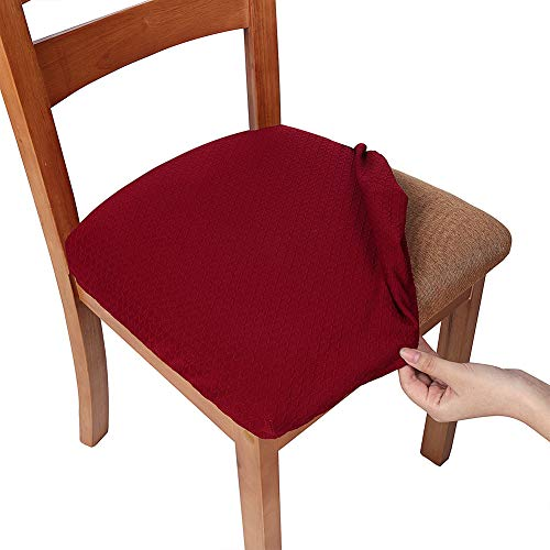 Smiry Stretch Spandex Jacquard Dining Room Chair Seat Covers, Removable Washable Anti-Dust Dinning Upholstered Chair Seat Cushion Slipcovers - Set of 4, Burgundy (Burgundy Slipcover)