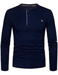 Mens Casual Long Sleeve Crewneck Buttons T-Shirt Top With Pocket