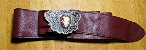 Heart Cameo Belt Burgundy Faux Leather Vintage w/ Silver Plated Filigree, Cameo Brooch/ Necklace or Option to Alter 50'' BELT to Your Size by EMENOW