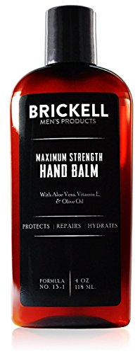 Brickell Mens Maximum Strength Hand Lotion for Men, Natural and Organic Fast-Absorbing Hand Lotion with Vitamin E, Shea Butter, and Jojoba, 4 Ounce, Unscented