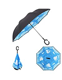 SAYGOGO Paraguas invertido/Paraguas de Doble Capa invertido, Mango Tipo C es Conveniente para sostener