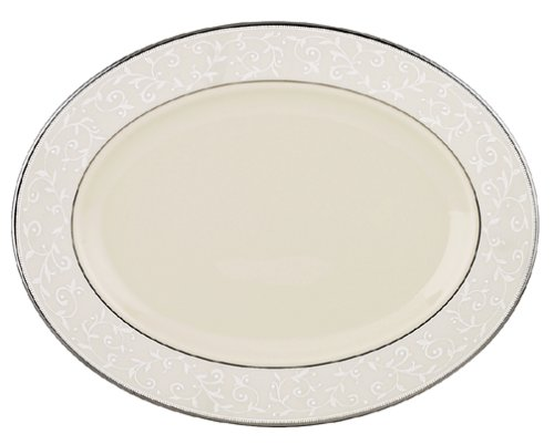 Lenox Pearl Innocence Platinum Banded Ivory 13-Inch Oval ()