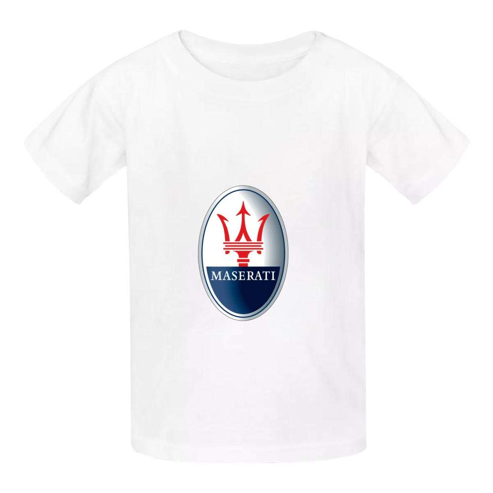 Boini Maserati Car Logo Basic Daily Wear Cotton Graphic T Shirts for Girls and Boys
