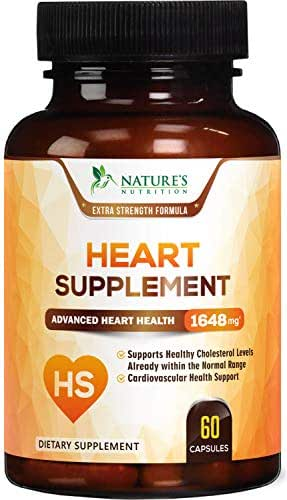 Heart Supplement Highest Potency Blood Pressure Support - High Cholesterol Lowering Vitamins - Made in USA - Best Cardiovascular Health Pills with CoQ10 & Magnesium for Men & Women - 60 Capsules