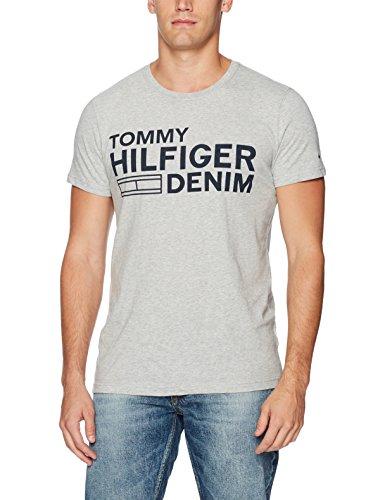 Tommy Hilfiger Denim Men's Logo T-Shirt With Short Sleeves, Light Grey Heather, Large