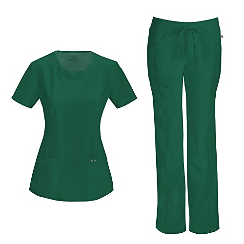 Cherokee Infinity Women's Scrub Set - 2624A Round Neck Top & 1123A Low Rise Straight Leg Drawstring Pant, Hunter Green, X-Small
