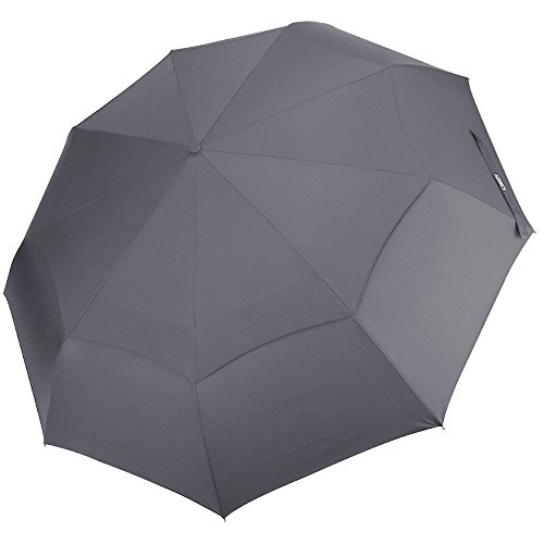 Canopy Windproof Umbrella (G4Free Compact Folding Golf Umbrella Windproof 48 Inch 9 Ribs Double Canopy Vented with Auto Open Close for Men Women Travel Grey - Sturdy, Portable, Larger Than Normal(Gray))