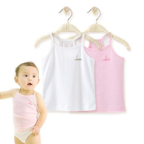 Cam Package (COBROO Baby Girl Tank Tops Cotton Sleeveless T-Shirts 2-Pack Cami Undershirt for 4-5T Kids)