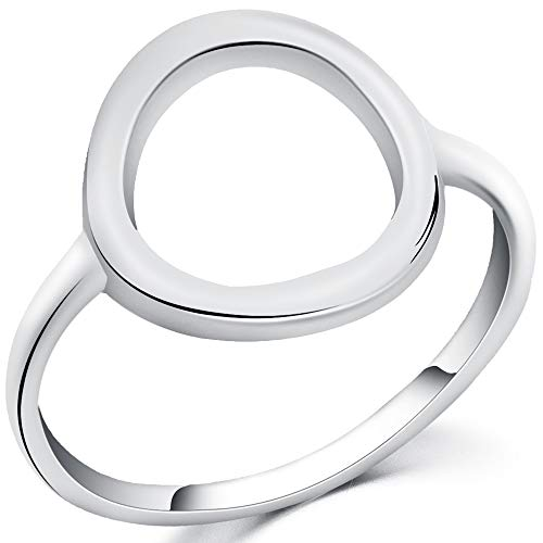 WFF 925 Sterling Silver Open Circle Karma Statement Promise Ring (Silver, 7)