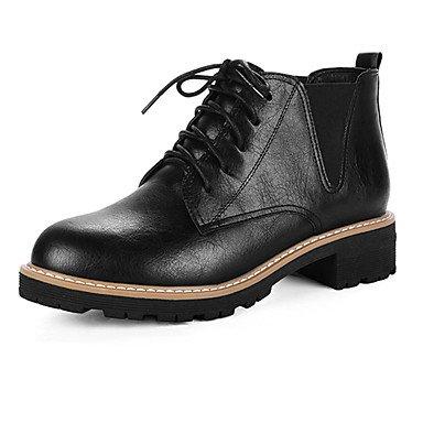 RTRY Zapatos De Mujer Tacones Otoño Invierno Confort Chiffon Polipiel Casual Parte &Amp; Traje De Noche Lace-Up Chunky Talón Gris Negro 1A-1 3/4 Pulg. US5.5 / EU36 / UK3.5 / CN35