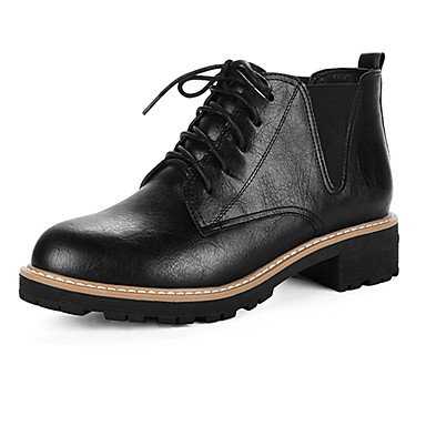 Otoño amp;Amp; Traje Gris Confort EU39 US8 Noche Mujer Negro 4 Lace Up Invierno CN39 3 Polipiel Chunky Zapatos Tacones 1A RTRY Parte Pulg Chiffon 1 Casual Talón De UK6 De 7xYqHP6wI