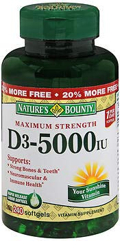 Nature's Bounty D3-5000 IU Softgels Maximum Strength - 240 ct, Pack of 3