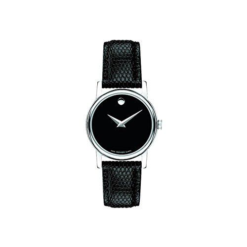 Movado Women's 27mm Black Leather Band Steel Case S. Sapphire Quartz Analog Watch 2100004