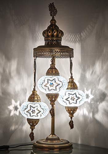 16 Colors Demmex 2020-3 Big Globes Magnificent Handmade Turkish Moroccan Mosaic Tiffany Table Desk Bedside Lamp Lampshade Night Accent Mood Light for North American Use, 31 Height White Star