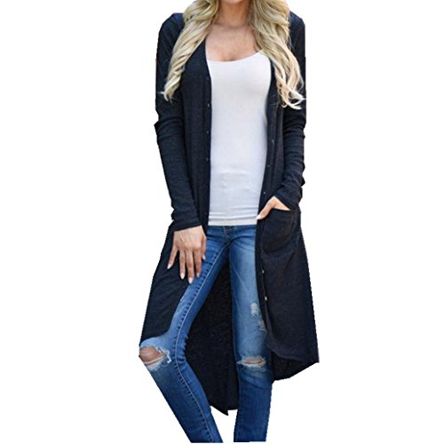 Women 3/4 Sleeve Knitted Cardigan Outwear Coat Sweater - 7