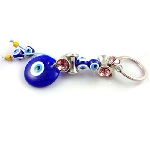 1 Classic Blue Evil Eye Glass Keychain Key Ring Turkish Luck Charm KEY RING (Coffee)
