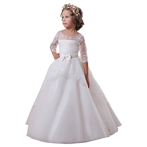2017 A-line White/Ivory Flower Girl Dresses Half Sleeve With Belt For First Communion Party FB37 (4, (First Communion Dresses 2017)