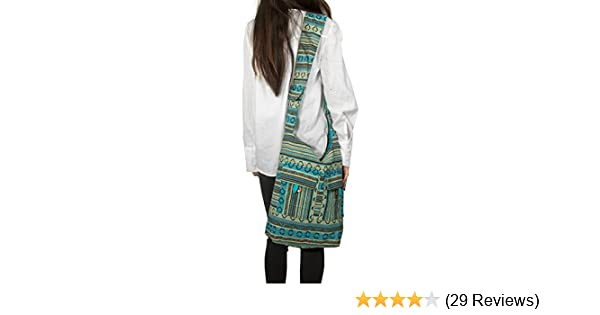 98dda82b7b94 Amazon.com  Tribe Azure Blue Aztec Canvas Large Hobo Cross body Shoulder  Sling Slouch Casual Shopping Market Bag  Shoes