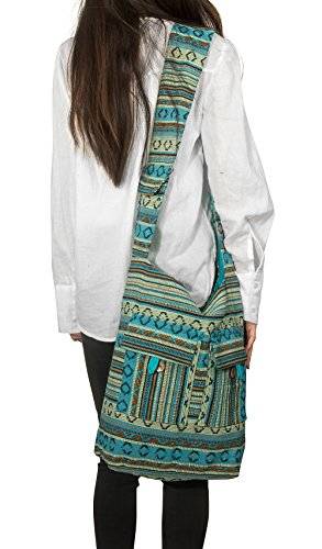 Tribe Azure Blue Aztec Canvas Large Hobo Cross body Shoulder Sling Slouch Casual Shopping Market Bag - Jacquard Hobo Style Bag