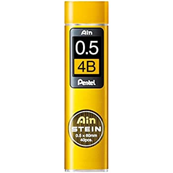 Pentel Ain Stein Mechanical Pencil Lead, 0.5mm 4B, 40 Leads (C275-4B)
