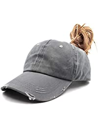95a13bc6ef6e6 Ponytail Unconstructed Washed Dad Hat Messy High Bun Ponycaps Plain Baseball  Cap