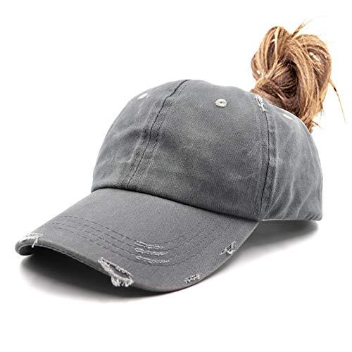 Distressed Ponytail Vintage Cap Cotton Dad Hat Adjustable Plain Cap Low Profile (Unconstructed)Messy High Bun Hat Ponycaps Adjustable Cotton Baseball Cap ()