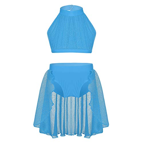 Pieces 8 Contemporary (Alvivi Big Girls 2 Piece Halter Illusion Neck Lyrical Dance Crop Top with Shorts Morden Contemporary Costume Sky Blue 10-12)