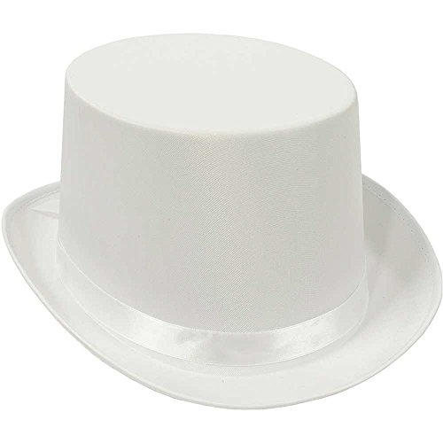 White Satin Deluxe Top Hat - One Size