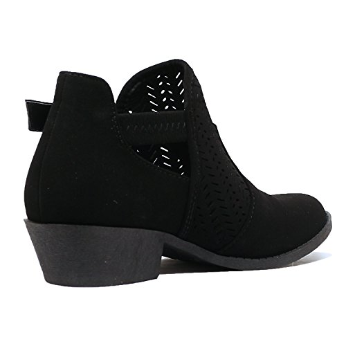 Low Nubuck Buckle Heel Boots Womens Black Guilty Heart Chunky Ankle Booties Closed Comfortable Perforated Toe 6RqqIBw