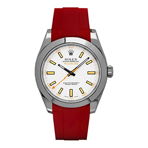 [ラバービー] RubberB ラバーベルト ROLEX ミルガウス専用ラバーベルト(ROLEX純正バックルを使用)(レッド)※時計は付属しません(Watch is not included)[並行輸入品]  B01IZQ6UB8