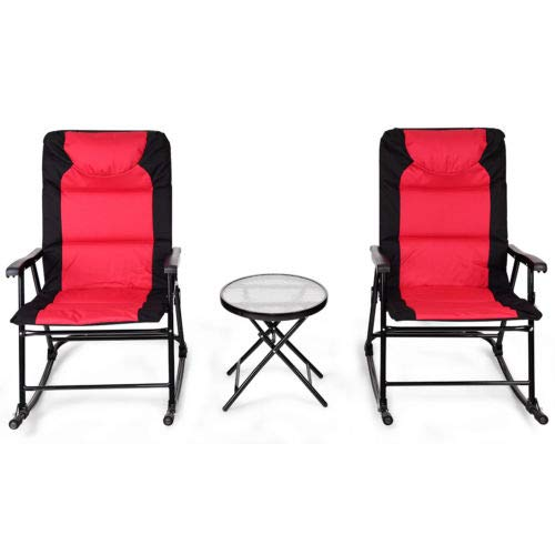 SRETAN 3 Pcs Folding Rocking Chair Table Set Black Red Fabric Flinty Cotton Steel Bistro Sets Patio Outdoor Camping Furniture Size 33 x 27x 42 inch (Iron Salterini Furniture Wrought Vintage Patio)