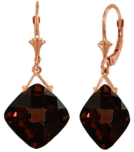 14k Rose Gold Leverback Earring with Checkerboard Cut Garnets
