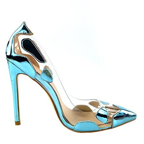 53e44fdec7a Enmayer Femmes Pu Matériel Haut Talons Stiletto Pompes Bout Bout À Bout  Mariage Été Chaussures Transparentes ...