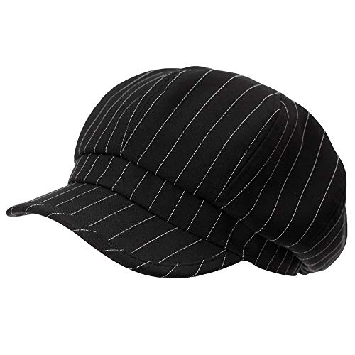 Womens Visor Beret Newsboy Cap Summer Cotton Linen Gatsby Stripe Adjustable Black Hat (Stripe Hat Cap)