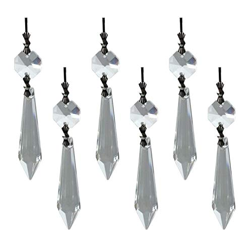 Masonicbuy 10 PCS Clear Crystal Chandelier Icicle U-Drop Prisms, 50mm