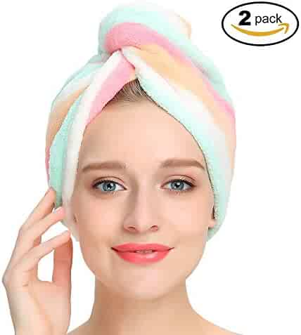 AuroTrends® Microfiber Hair Turban Wrap 2 Pack,Quick Dry Hair Towel Wrap Turban- Super Absorbent,Unique Design,2 Pack (Rainbow)