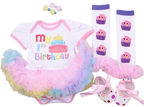 CAKYE® Baby Girls' 5pcs First Birthday Dress Leggings Shoes Bowknot Hairpin (Medium (6-9 months), 1st birthday dress) -