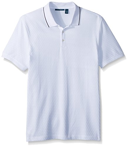 Perry Ellis Men's Jacquard 3 Button Polo, Bright White Large