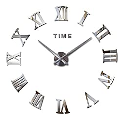 Cideros Large Wall Clock 3D Acrylic Mirror Sticker Roman Numerals DIY Big Watch with 80-120cm Diameter, Modern Creative Design, Removable Decoration for Home, Office, Bedroom, Living Room (Silver)