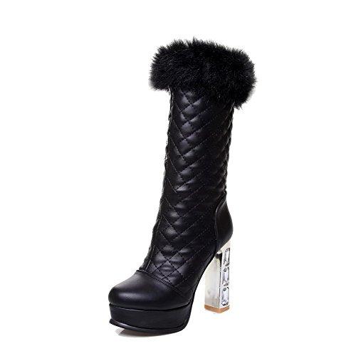 VogueZone009 Damen Rein Hoher Absatz Rund Zehe Ziehen auf Stiefel mit Beschlagene Strass Schwarz