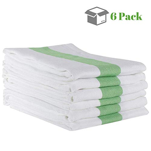 - Linen and Towel 6 Pack Kitchen Towels, 20 x 28 inch Cotton Dish Towels, Tea Towels, Bar Towels with Green Stripe in Herringbone Weave