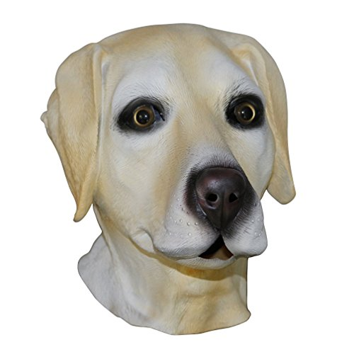 Golden Labrador Dog Head Mask Latex Full Head Overhead Party Animal Masks Fancy Dress -