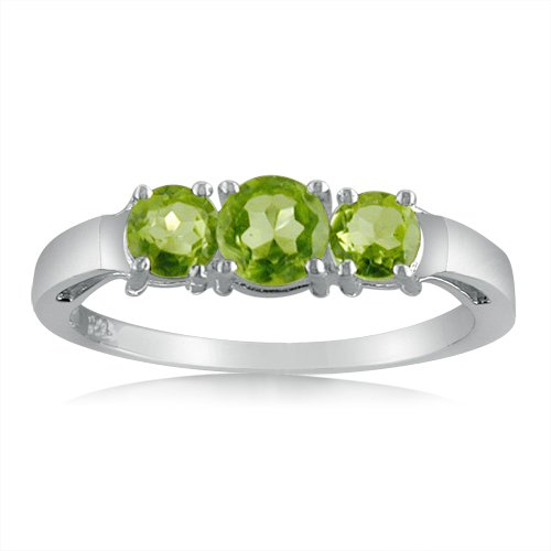 Sterling Silver Peridot Three-Stone Ring ( 1cttw Sizes 5-9)
